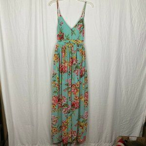 Miss Avenue Women's Teal Floral Strappy Maxi Dress